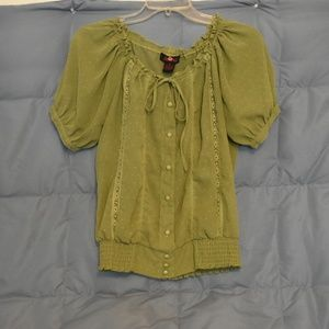 Olive polyester blouse